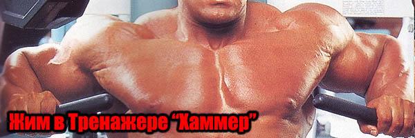 """Жим в тренажере """"Хаммер"""" для тренировки грудных мышц"""